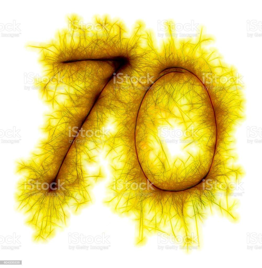 Sparkling golden celebration number seventy 70th birthday stock photo