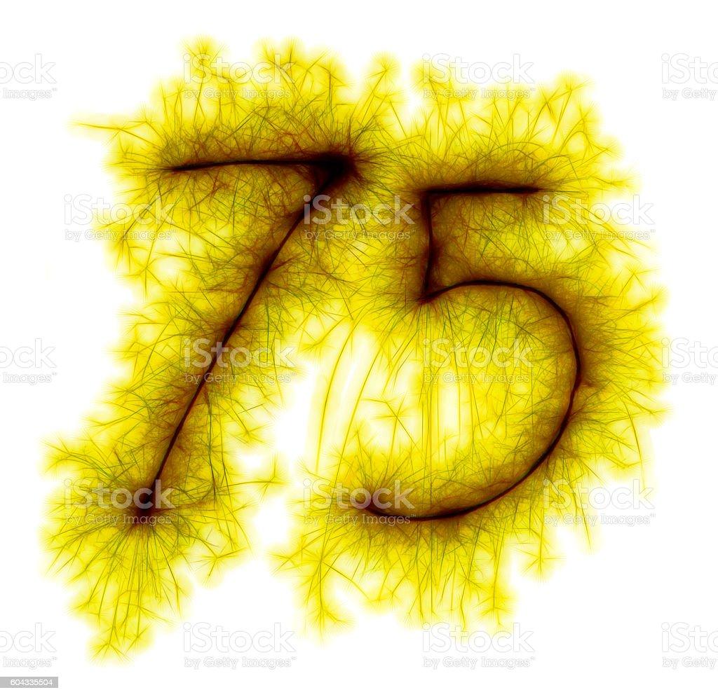 Sparkling golden celebration number seventyfive 75th birthday stock photo
