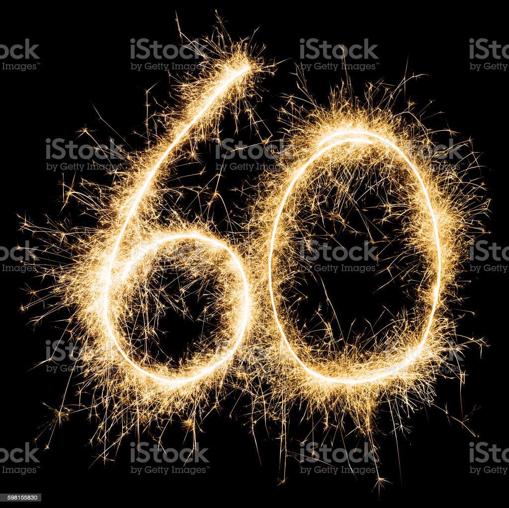 Sparkling golden celebration number sixty 60th birthday stock photo