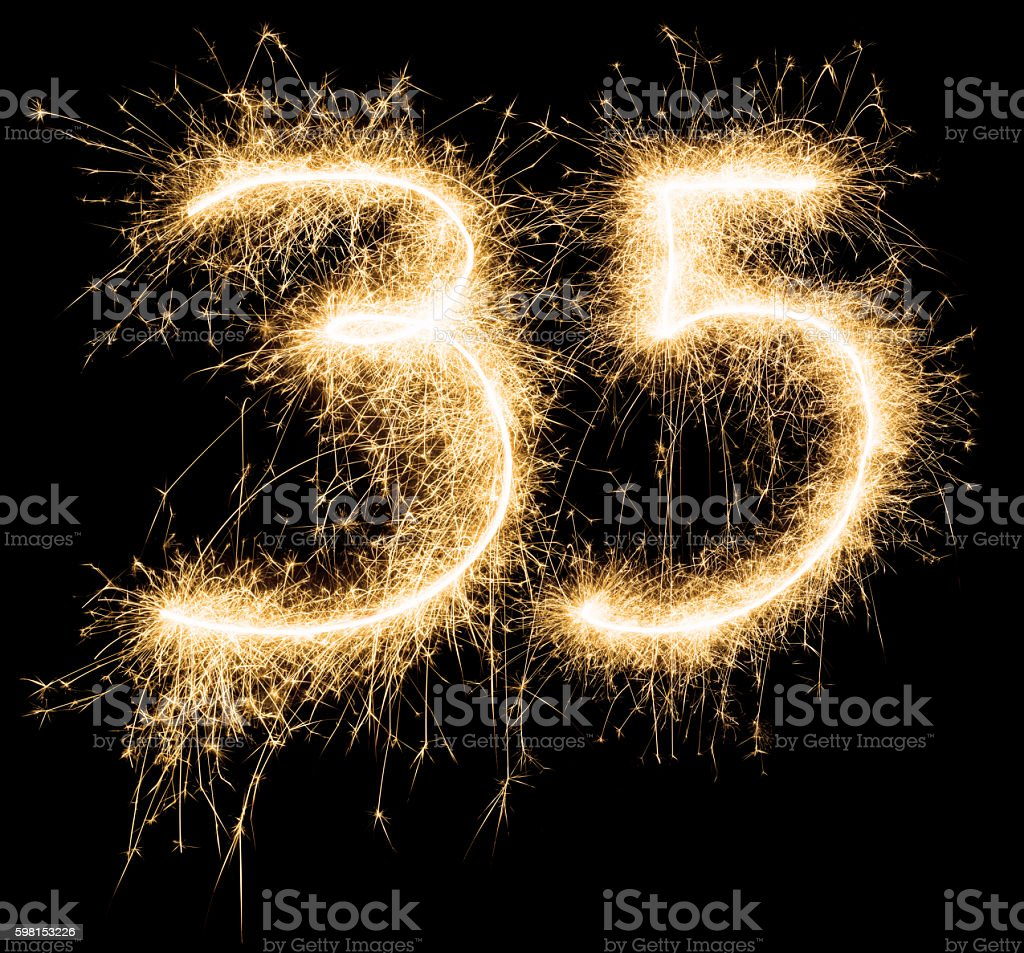 Sparkling golden celebration number thirtyfive 35th birthday stock photo