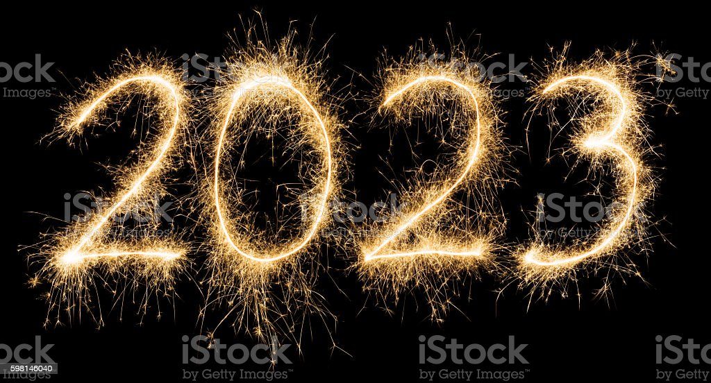 Sparkling golden New Year 2023 stock photo