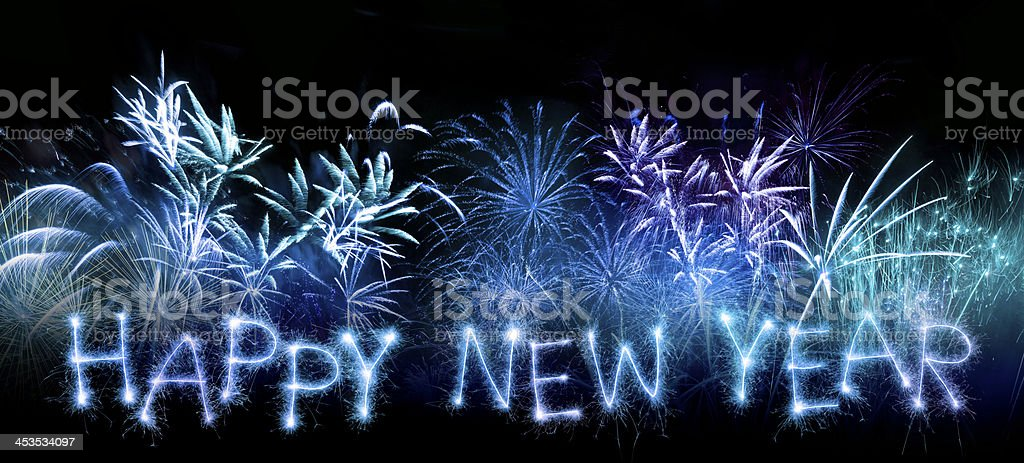 Sparkling Happy New Year With Fireworks stock photo