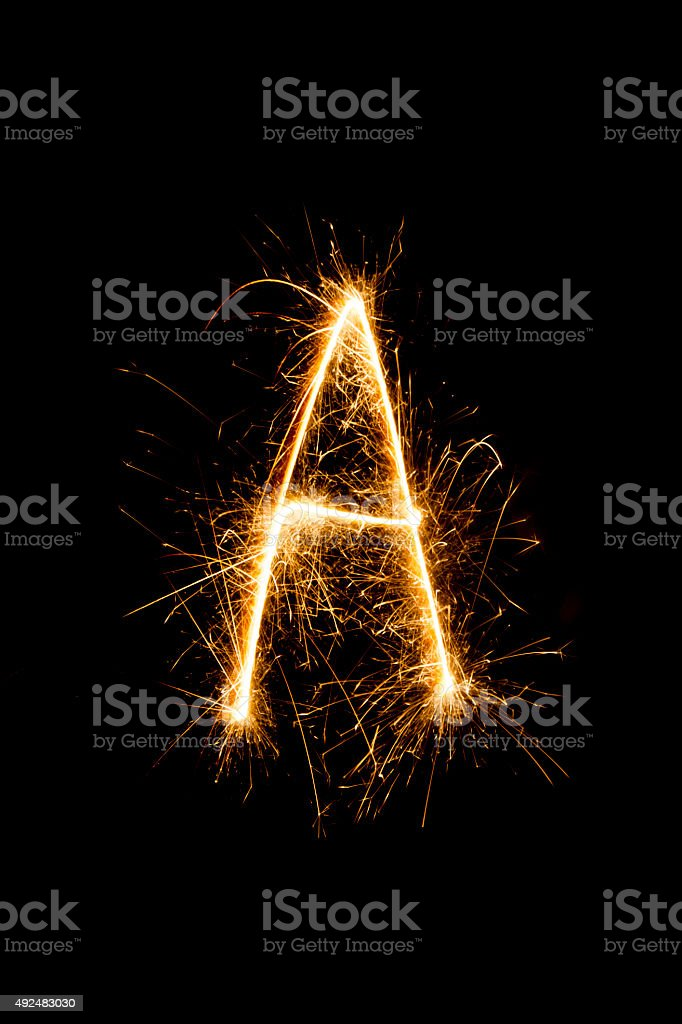 Sparkling letter ,, A ' stock photo