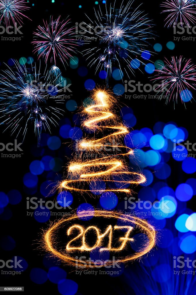 Sparkling New Year 2017 background stock photo