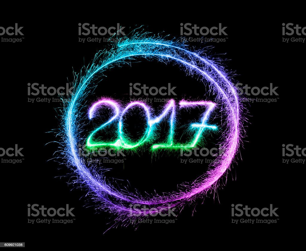 Sparkling New Year 2017 (multi colored) stock photo