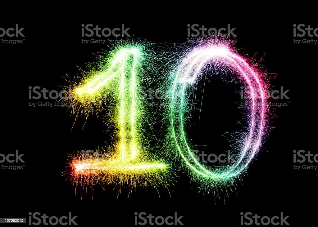 Sparkling Number 10 (XXL) royalty-free stock photo