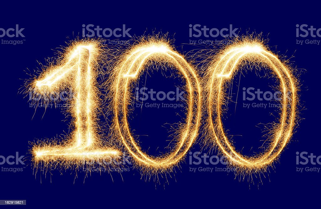 Sparkling Number 100 (XXL) royalty-free stock photo