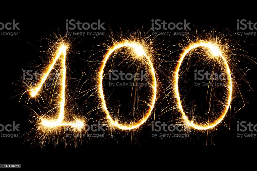Sparkling number 100 stock photo