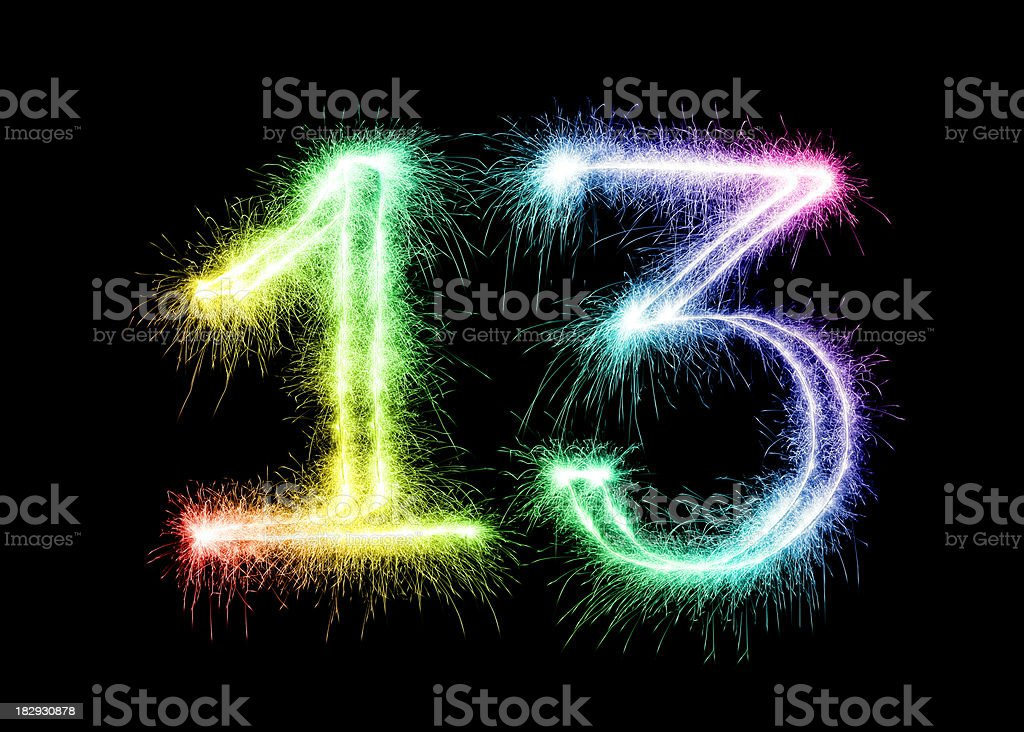 Sparkling Number 13 (XXL) royalty-free stock photo