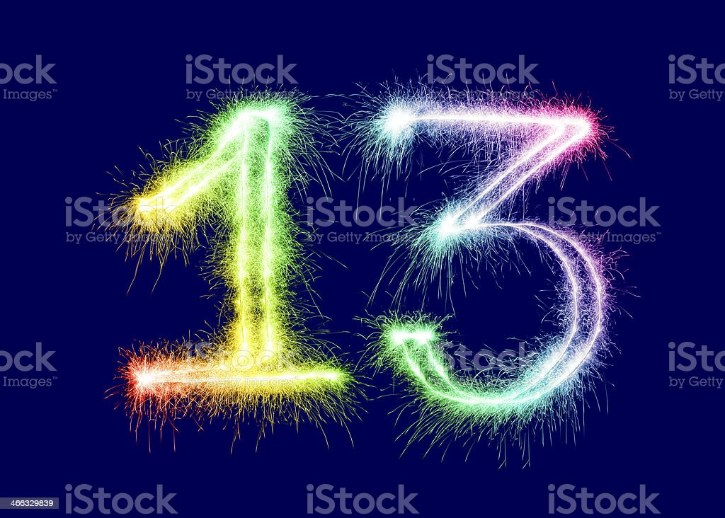 Sparkling Number 13 royalty-free stock photo