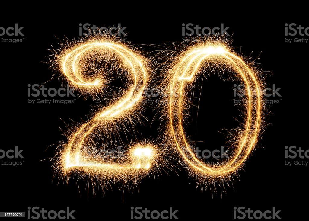 Sparkling Number 20 (XXL) royalty-free stock photo