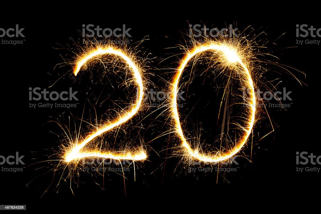 Sparkling number 20 stock photo