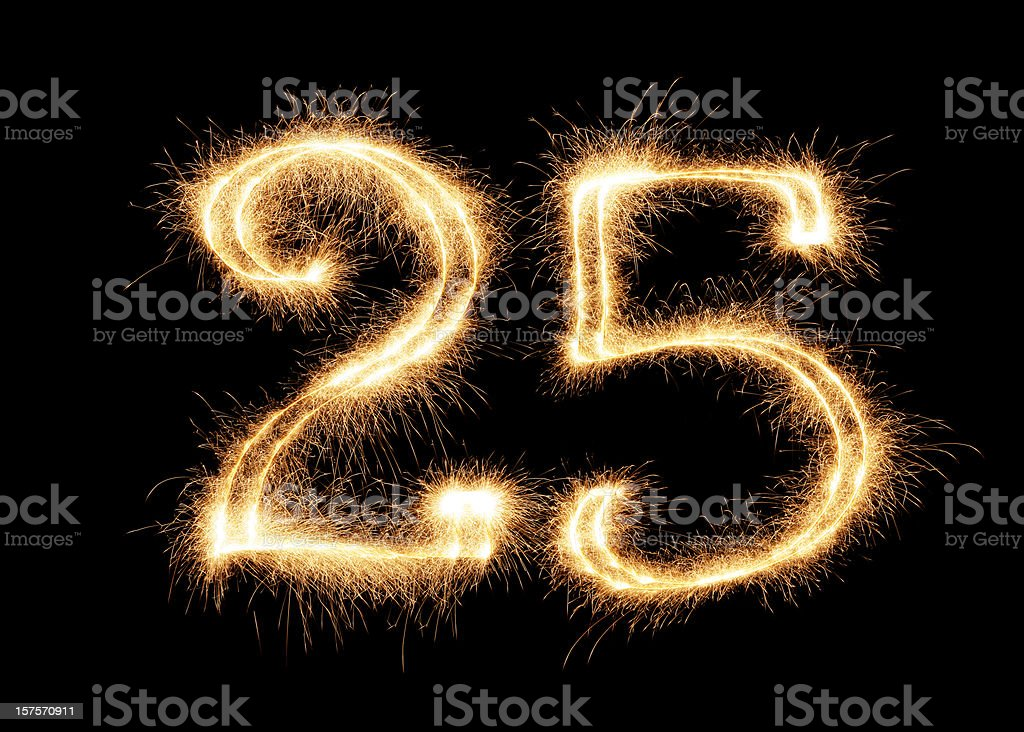 Sparkling Number 25 (XXL) stock photo