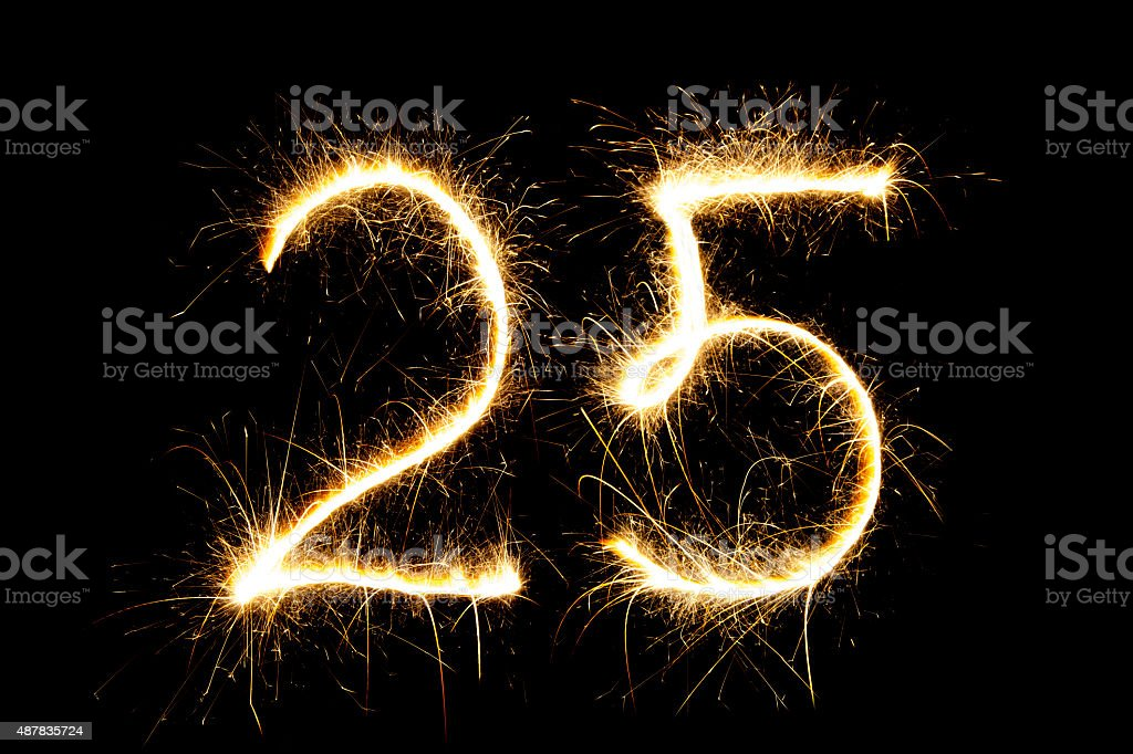 Sparkling number 25 stock photo