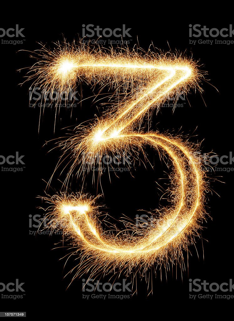 Sparkling Number 3 royalty-free stock photo