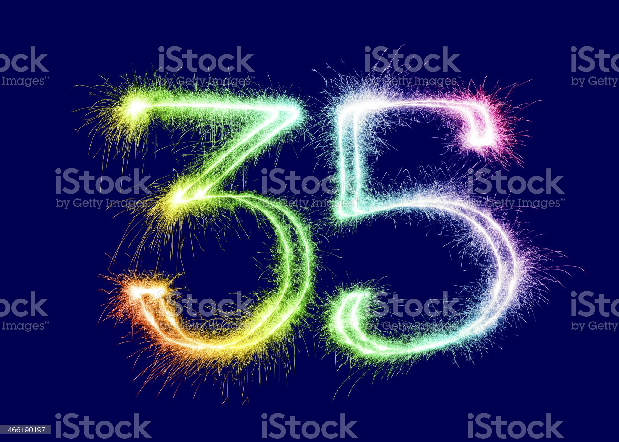 Sparkling Number 35 royalty-free stock photo