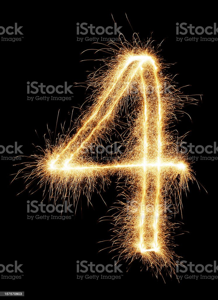 Sparkling Number 4 stock photo