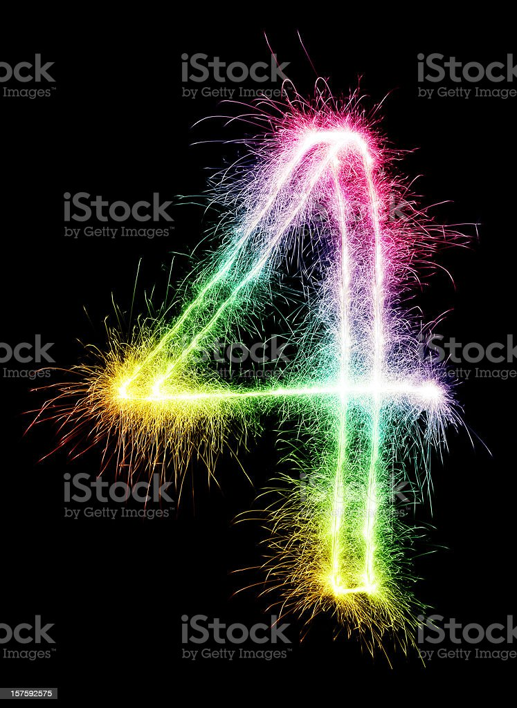 Sparkling Number 4 royalty-free stock photo