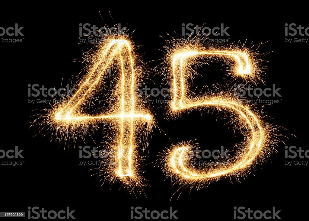 Sparkling Number 45 (XXL) royalty-free stock photo