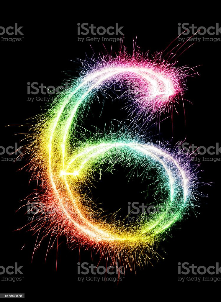Sparkling Number 6 stock photo
