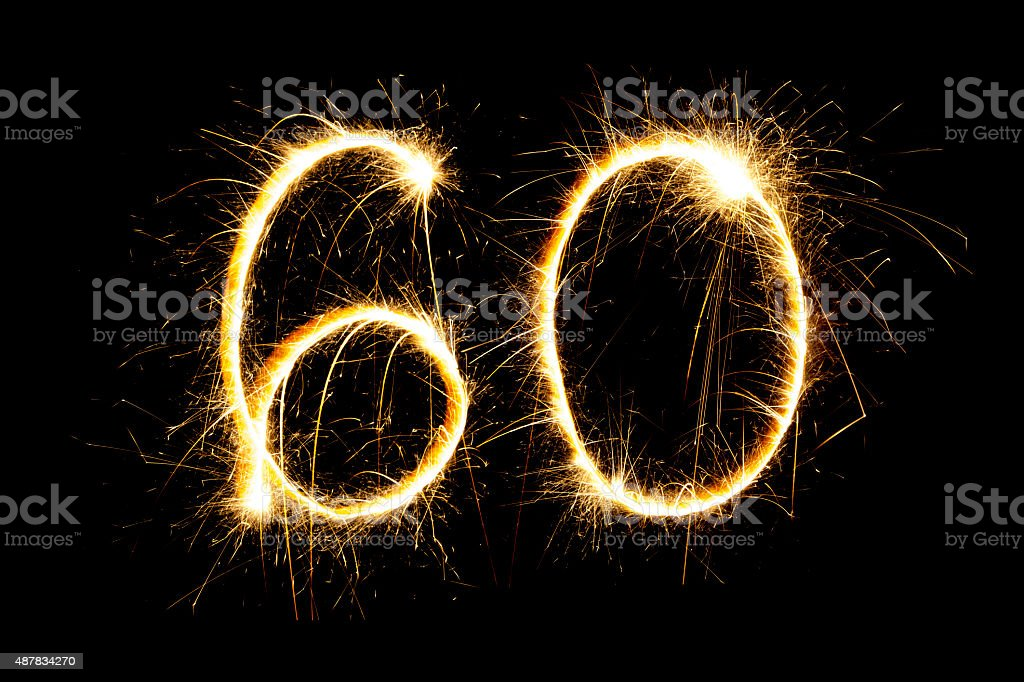 Sparkling number 60 stock photo