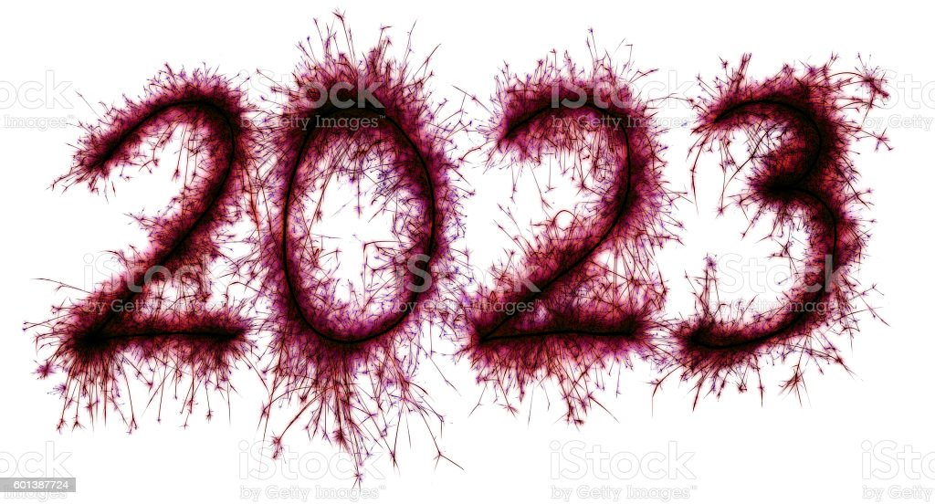 Sparkling red New Year 2023 stock photo