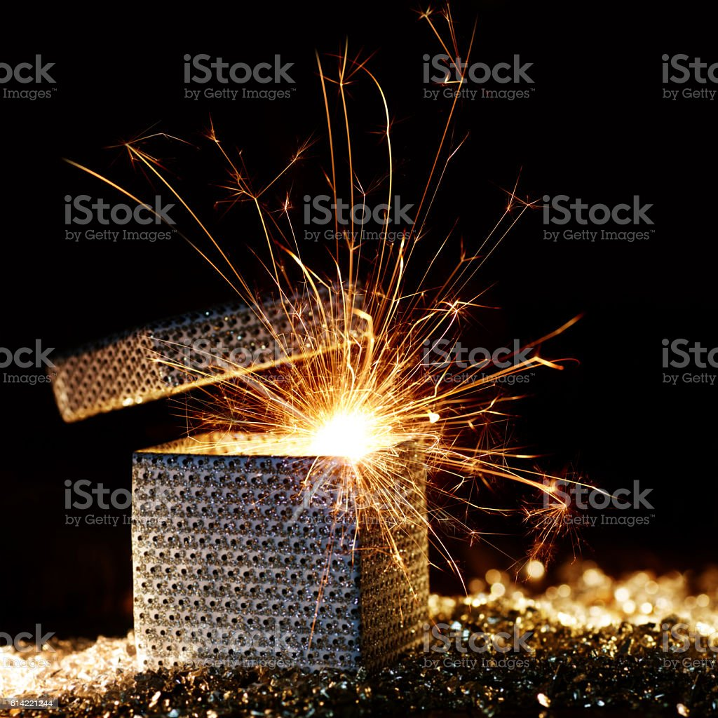 Sparkling surprise package stock photo
