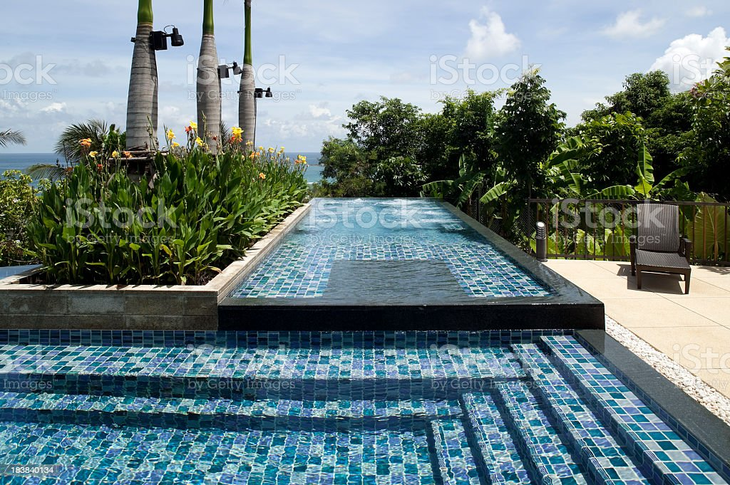 Sparkling villa pool at luxury resort hotel in Phuket stock photo