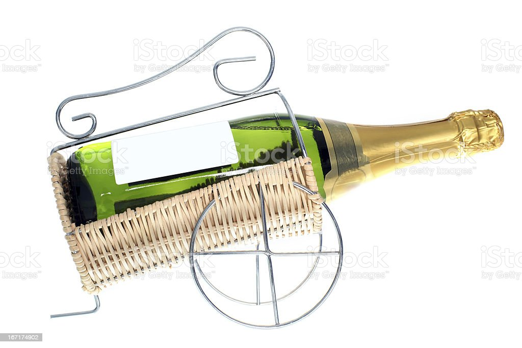 Sparkling Wine Bottle isolated on white royalty-free stock photo