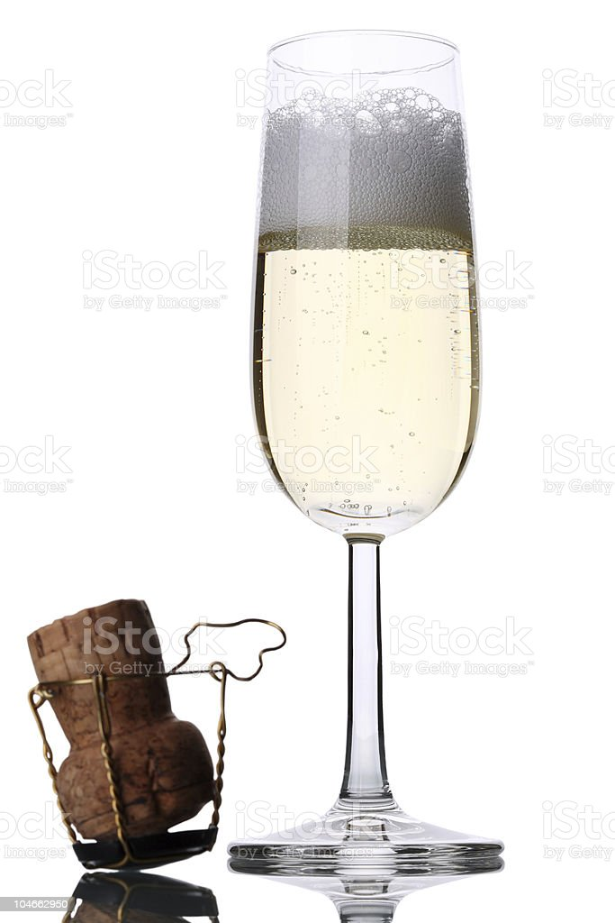 Sparkling Wine Glass with Cork royalty-free stock photo