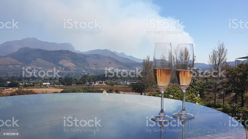 Sparkling wine glasses stock photo