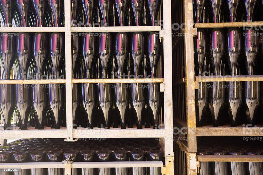 Sparkling wine secondary fermentation process stock photo
