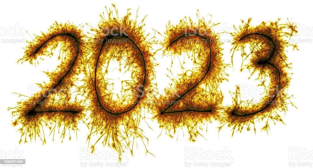 Sparkling yellow New Year 2023 stock photo