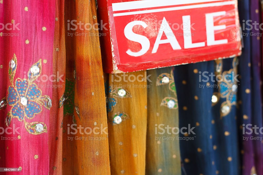 Sparkly Colorful Floral Indian Fabrics Lined Up, On Sale stock photo