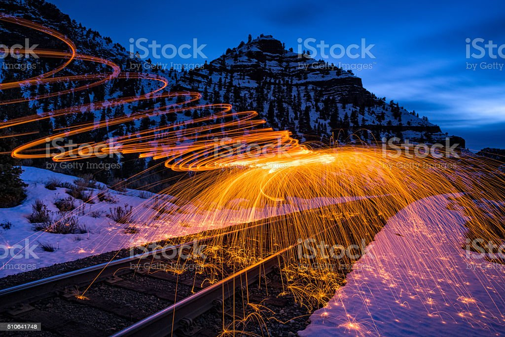 Sparks and Fire Canyon Landscape at Dusk stock photo