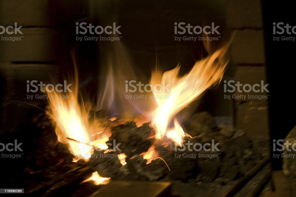 Sparks and fire in forge stock photo