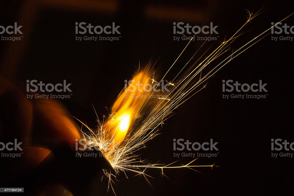 Sparks and Flames from a Lighter stock photo