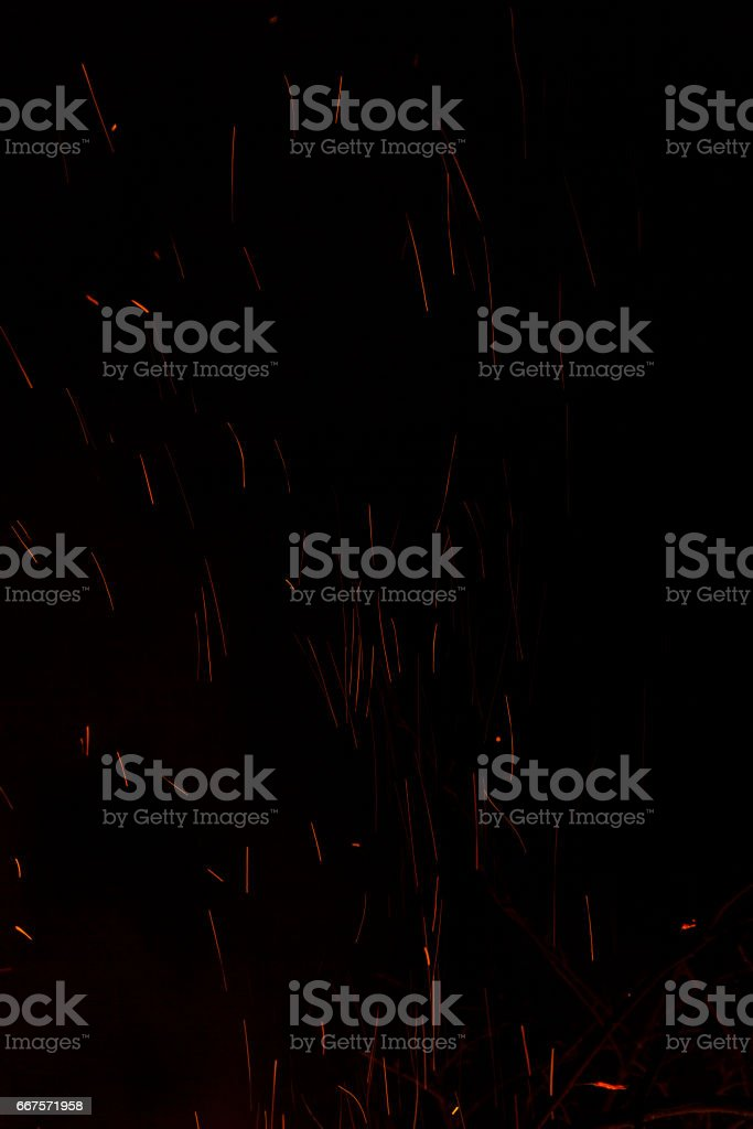 Sparks bonfire background stock photo