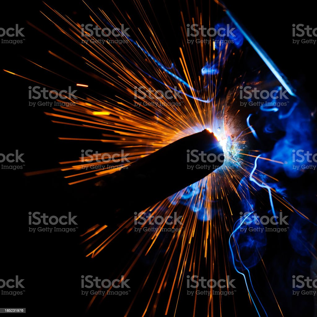Sparks during welding stock photo