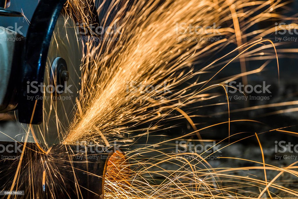 Sparks from cutting metal stock photo