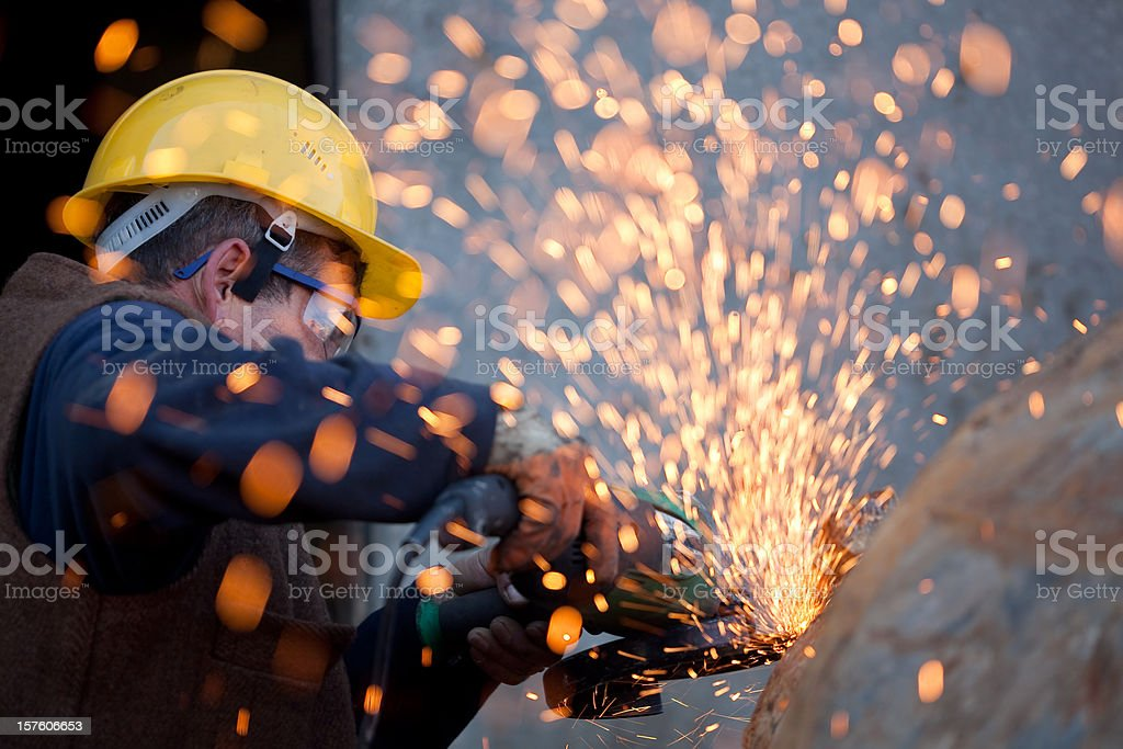 Sparks from Grinder royalty-free stock photo