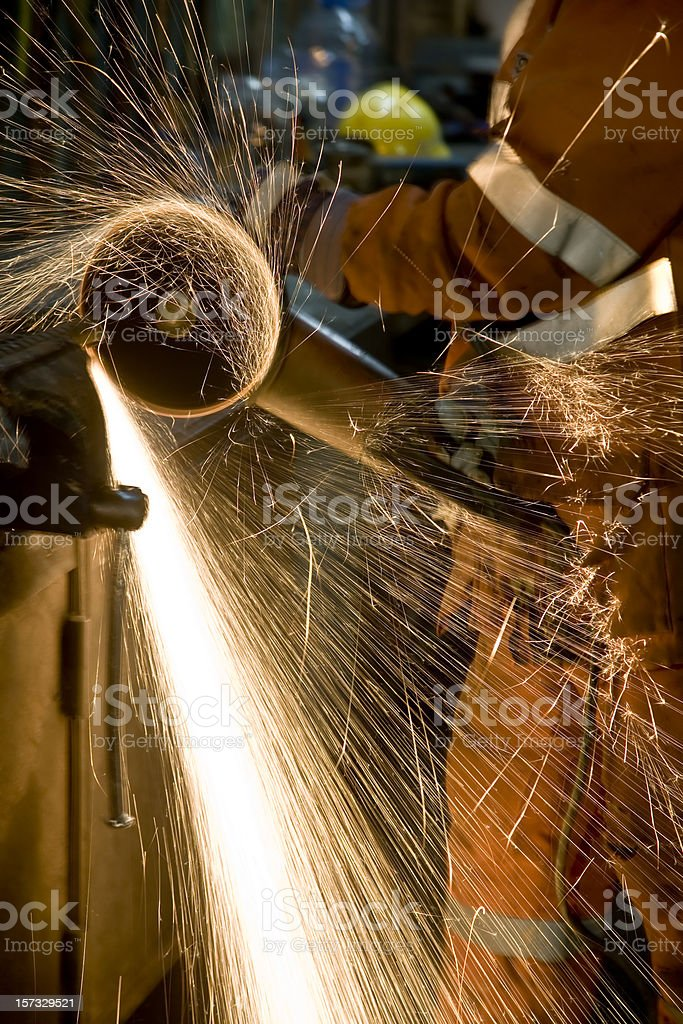 Sparks from Grinding Wheel stock photo