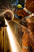 Sparks from Grinding Wheel