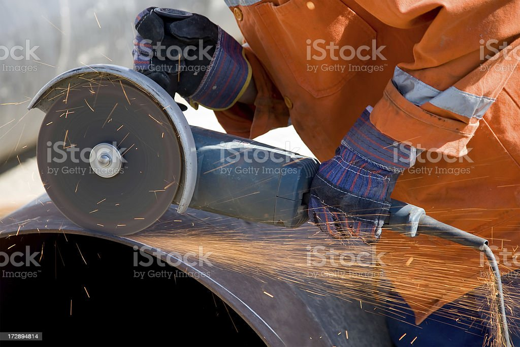 Sparks from Metal Pipe stock photo