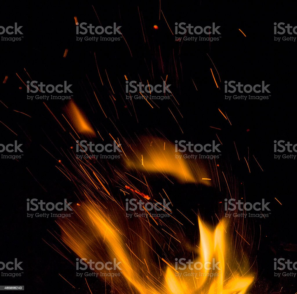 Sparks from the fire stock photo