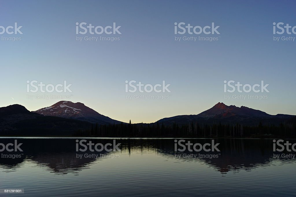 Sparks Lake Fire Peaks stock photo