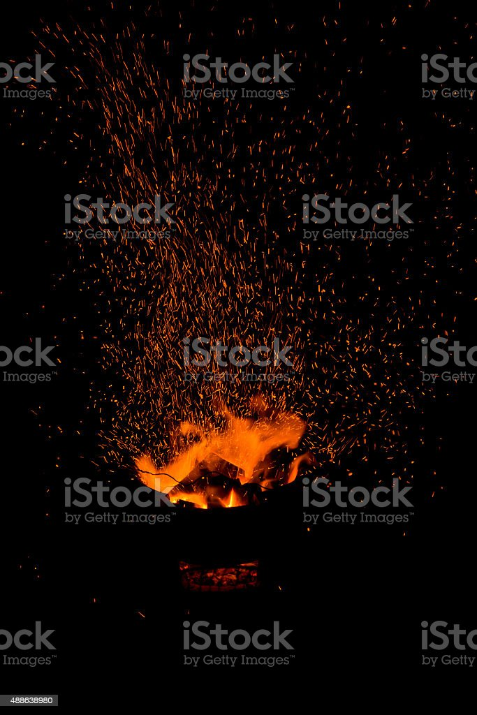 sparks of bonfire. stock photo