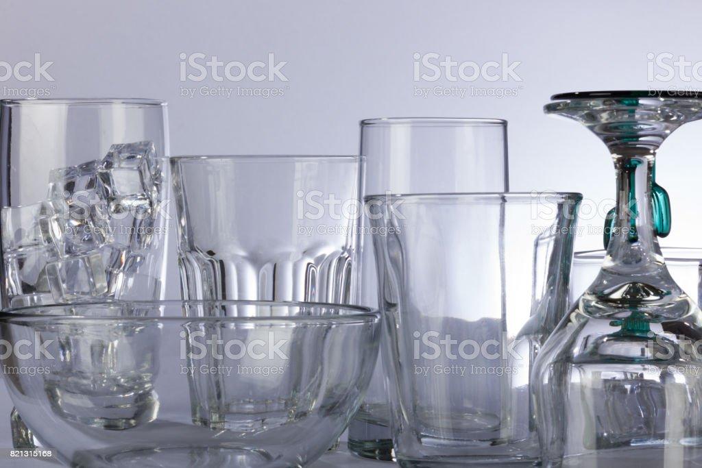 Sparse Glassware Backlit stock photo