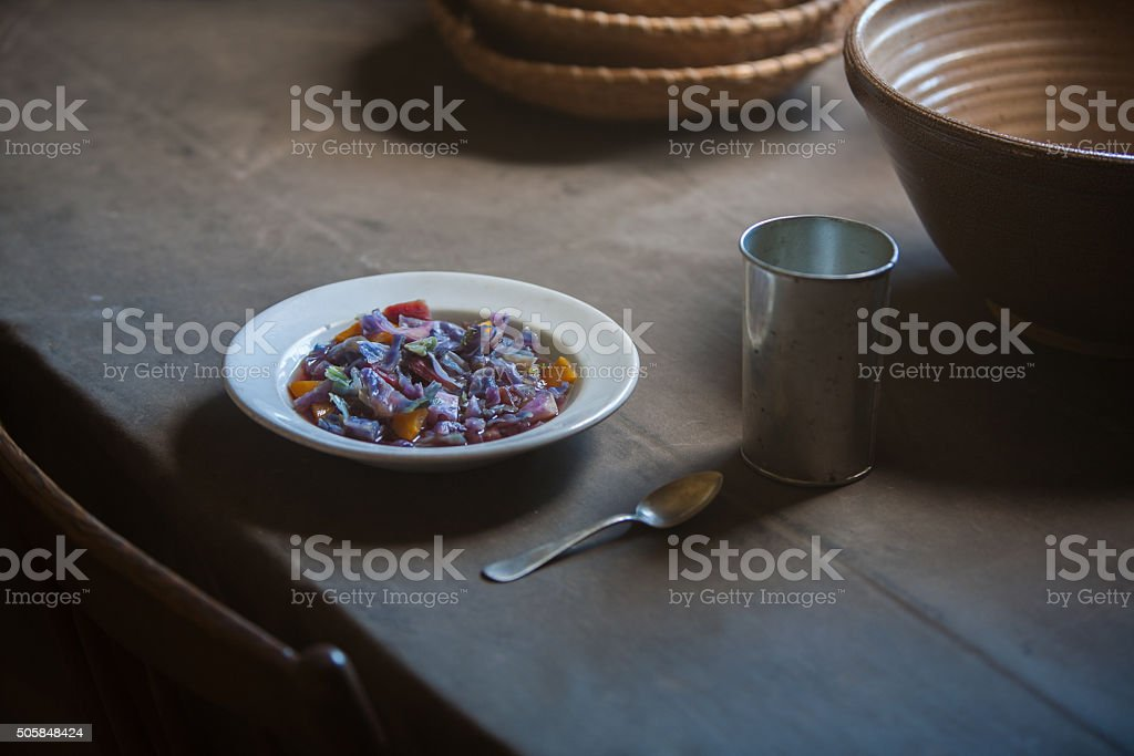 sparse, simple table setting stock photo