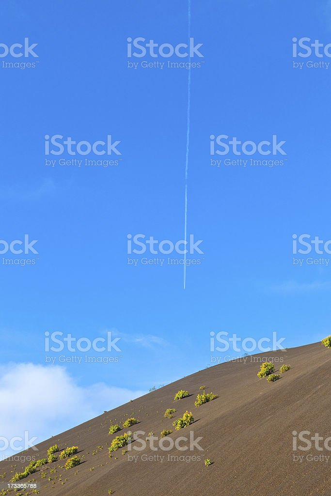 sparse vegetation on volcanic hills in Timanfaya National Park royalty-free stock photo